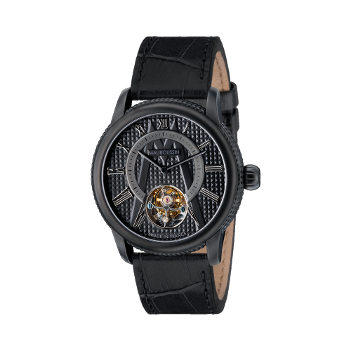 Tourbillon watch, black dial