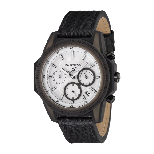 Montre THE SWIMMER cadran blanc, bracelet cuir