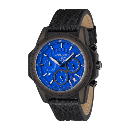 Montre THE SWIMMER cadran bleu, bracelet cuir
