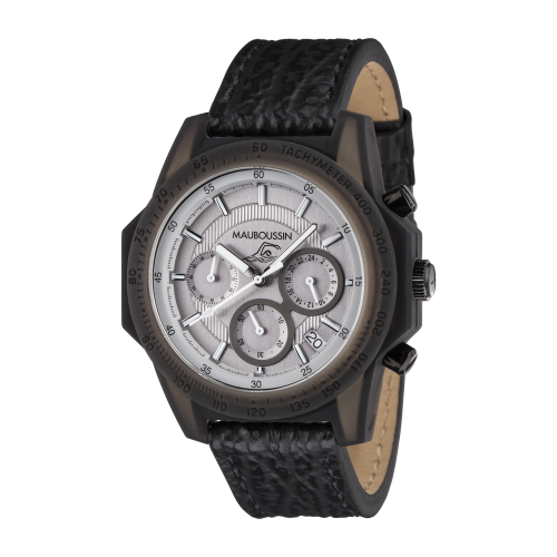 Montre THE SWIMMER cadran gris, bracelet cuir