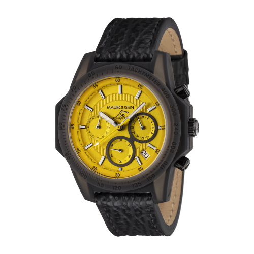 Montre THE SWIMMER cadran jaune, bracelet cuir