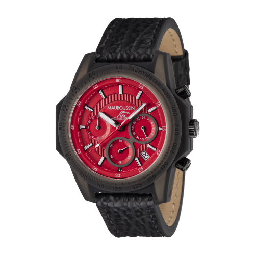 Montre THE SWIMMER cadran rouge, bracelet cuir