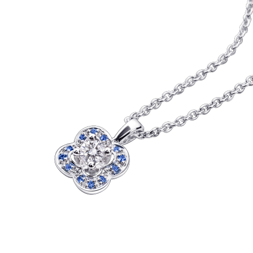 Chance's Cup pendant, white gold, diamonds and sapphires