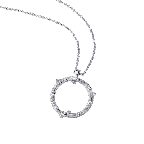 Necklace La Passion est un Volcan, white gold et diamonds