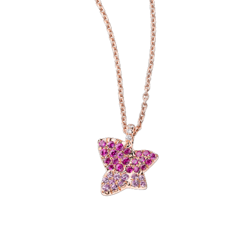 Tu es la Sublime Fleur de ma Vie necklace, pink gold, ruby and pink sapphires