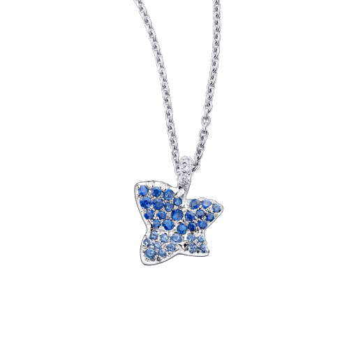 Tu es la Sublime Fleur de ma Vie necklace, white gold and sapphires