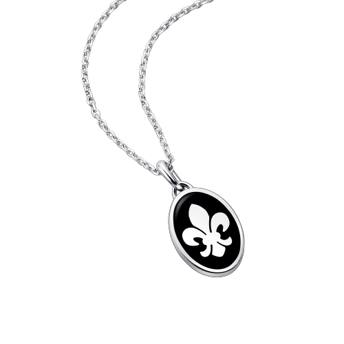 Lys Royal pendant, silver and black lacquer